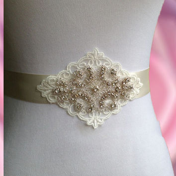 Bridal Sash Wedding Belt Vintage Style Satin and Lace With Rhinestone Applique