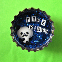 Upcycled Bottle Cap Magnet Resin Bad Panda Free Rides Blue Glitter Handmade Recycled Reclaimed Repurposed Ceramic Magnet