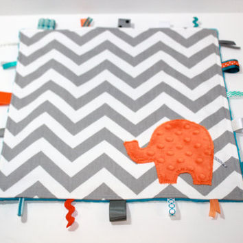 Personalized Chevron taggie blanket - Blue orange Grey - Elephant baby lovey travel blanket shower gift nursery