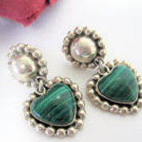 Sterling Heart Earrings  - Malachite Genuine Stone - Heart Shaped Dangles -