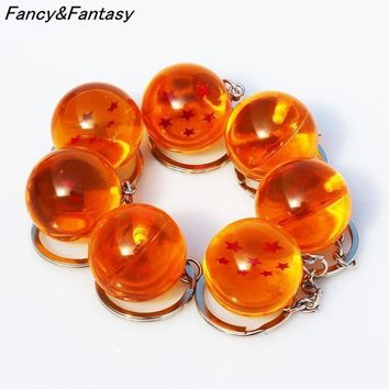 ESBIJ6 Fancy&Fantasy Anime Goku Dragon Ball Super  Keychain 3D 1-7 Stars Cosplay Crystal Ball Key chain Collection Toy Gift key Ring