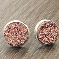 Druzy earrings- Rose Gold silver tone stud druzy earrings