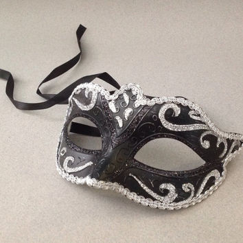 Silver Bkack Masquerade Mask Venetian Style Burlesque Costume Dance High Quality handmade Eye Mask
