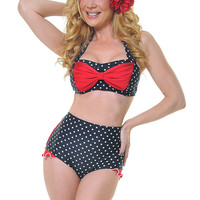 Black & White Polka Dot with Red Shirley Bikini Bottom