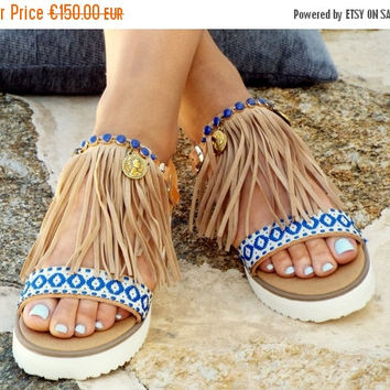 "ONE WEEK SALE Boho Sandals, Handmade Sandals, Greek Sandals, Earth Colors shoes,""Leila""  hippie lsandals, Bohemian sandals"