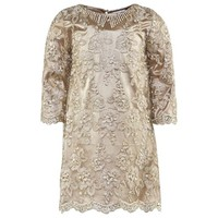 Miss Grant Gold Lace Overlay Dress With Beading | AlexandAlexa