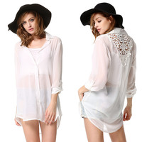 New Fashion Women Sexy Beach Chiffon Shirt Perspective Blouse Lace Splicing Bikini Cover Up Shirt