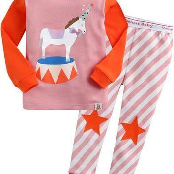 Vaenait Baby Unicorn Horse Long Sleeve Pajama Set