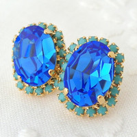 Sapphire blue turquoise rhinestone Swarovski crystal oval stud earring, 14k gold plated stud earrings, Bridesmaids gifts, Bridal earrings