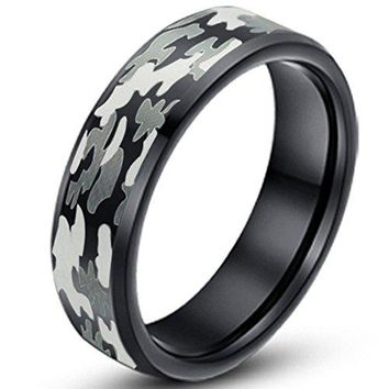 6mm Black Camouflage Hunting Tungsten Carbide Ring Camo Polished Beveled Edge Engagement Band