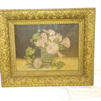 Antique Victorian Oil on Canvas Painting Pink Morning Glories Gilt Frame