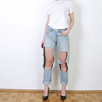 90s Levis 517 Distressed Denim Jeans. Ripped Sexy Custom Made Jeans. W30 L34