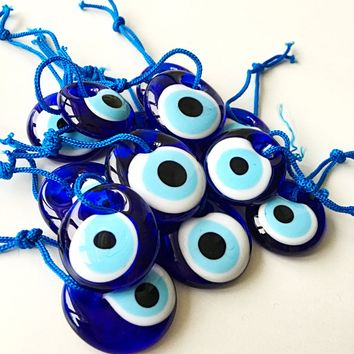 evil eye bead - 3.5cm - 5pcs - evil eye charm - large evil eye - turkish evil eye