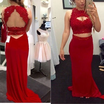 High Neck Red Lace Satin Prom Dresses