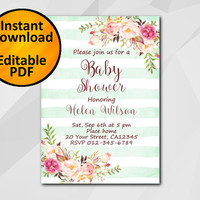 Editable Baby Shower Invitation, Watercolor Turquoise stripe Invitation, Instant Download diy, etsy Baby Shower invitation XB320ts-1