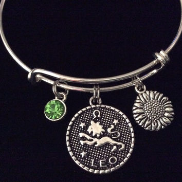 Leo Zodiac Charm Sunflower Green Peridot Birthstone Silver Expandable Bracelet Birthday Gift Bangle