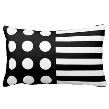 Black and White Polka Dots and Stripes Throw Pillow
