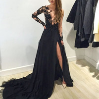 Sexy Side Split Black Prom Dress 2016 A Line with Long Sheer Sleeve Appliques Chiffon Vestido Longo Evening Dress