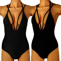 Swimming Suit For Women Black Bikini One Piece Suit Deep V Swimwear Female 2016 Bathing Suit Women Swimsuit Sexy Monokini