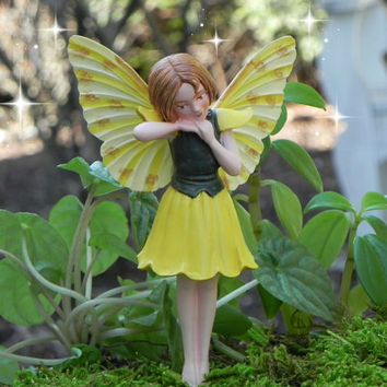 Fairy Figurine fairy garden accessories Cicely Mary Barker Fairy Laburnum - accessory- miniature garden, terrarium supply, cake topper fairy