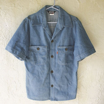 Levi's Western Chambray Orange Tab Work Shirt - Medium - 70s