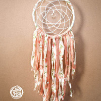 Dream Catcher - Small Flowers - With Crystal Prism and Unique Floral Textiles - Boho Home Decor, Nursery Mobile
