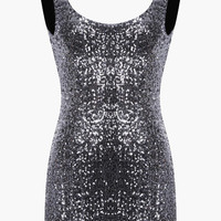 Silver Low Open Back Sequin Bosycon Mini Dress