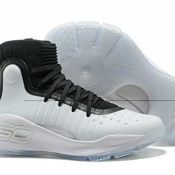 HCXX Men's Under Armor Curry 4 Basketball Shoes White Black 40-46