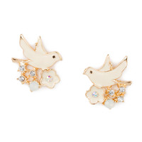 Enamel Dove and Flower Stud Earrings