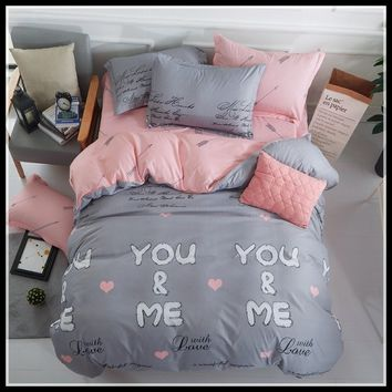 3/4Pcs High Quality Soft Cotton Bedding Set You&Me Duvet Cover Set Bed Linen King/Queen/Full/Double/Twin