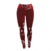 """Fotios Pavlopoulos """"White Abstract On Red"""" Maroon Abstract Yoga Leggings"""