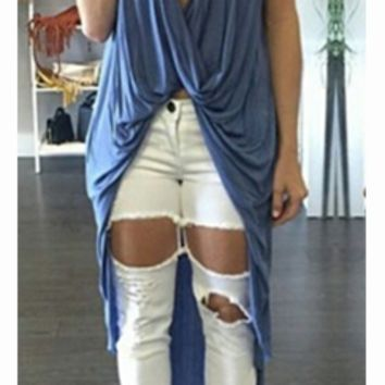 Sparks Will Fly Blue Beige Sleeveless Twist Drape V Neck High Low Long Asymmetric Tank Top