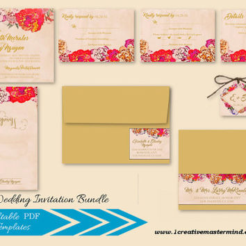 Instant Download Wedding Bundle Template, RSVP, Details Card, Thank You, Editable, Instant Download, Elegant Painted Floral #1CM79-1