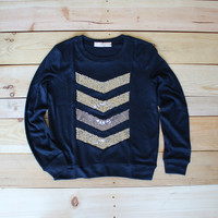 soft chevron sequin pull over - navy gold silver liam payne tattoo sequin chevron / arrow design shirt pull over
