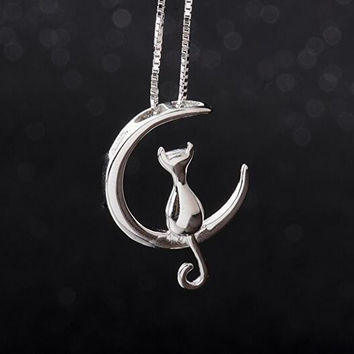 Cat Moon Necklace Sterling Silver Cat and Moon Collar Necklace