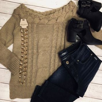 LAST CHANCE Tan Off the Shoulder Sweater X