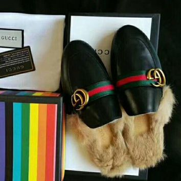 Gotopfashion GUCCI Fashion Women Leisure GG Letter Leather Rabbit Fur Casual Slippers Shoes I-GCXGCFH-GC