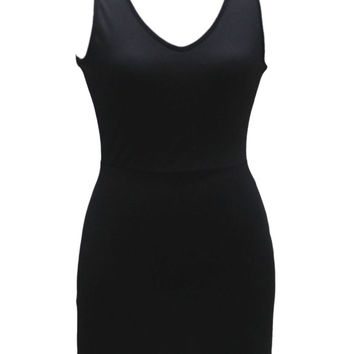 Black Cut Out Sleeveless Bodycon Dress