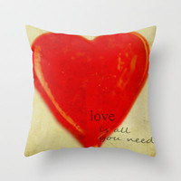 LOVE is all you need Throw Pillow by Irène Sneddon