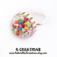 Sprinkles Globe Ring - Colorful Candy - Mini Sprinkles - Kawaii Miniature Jewelry - Realistic Food Miniature - Sweet Ring - Globe Jewelry