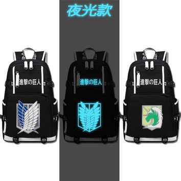 Cool Attack on Titan Anime  Scout Legion/Military Police Cos Printing Backpack Fashion Rucksack Canvas School Bags Mochila Feminina AT_90_11