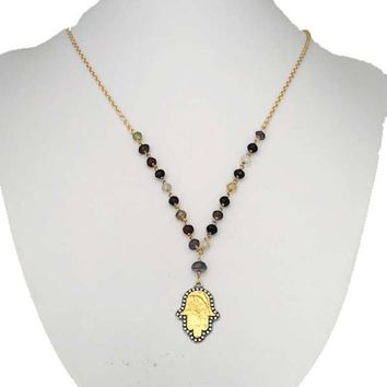 Two Tone Sterling Silver Hamsa and Beaded Necklace