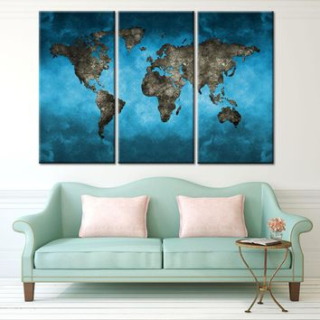 Global World Map Canvas Print 3 Piece Modern Abstract Blue World Map Wall Art HD Print Painting for Living Room Decor