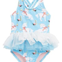 Rock Your Baby White Unicorns Tulle One-Piece Swimsuit (Baby Girls) | Nordstrom