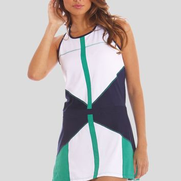 Lucky in Love Women's Tennis Apparel- Jade and Navy Collection : Color Block Tennis Dress LIL-CD01 | www.CourtandKelly.com