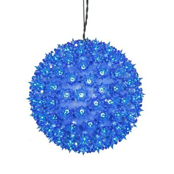 "10"" Blue Lighted Hanging Starlight Sphere Christmas Ball Decoration"