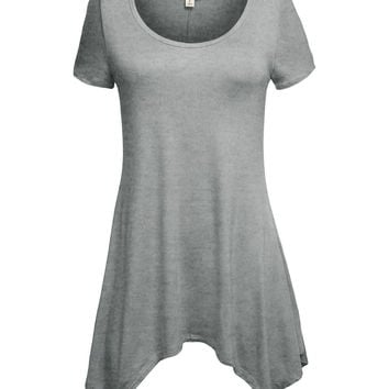 LE3NO Womens Lightweight Short Sleeve Asymmetrical Tunic Top (CLEARANCE)