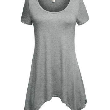 Lightweight Short Sleeve Asymmetrical Tunic Top (CLEARANCE)
