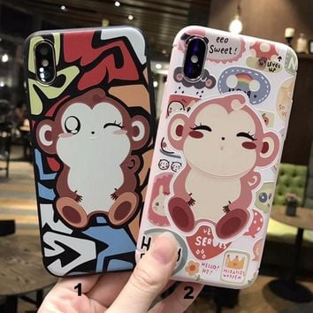 Cool cute little monkey mobile phone case for iPhone X 7 7plus 8 8plus iPhone6 6s plus -171121