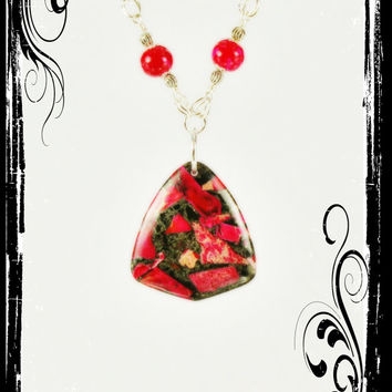 """RED Sea Sediment Jasper & Pyrite pendant on hand wired-beaded necklace, 22"""", with red mottled-spotted beads"""